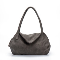 Elephant Grey Leather Tote Bag / Soft Leather Bag / Office Bag / Women Purse / Compartments Bag / Lined Bag / Shoulder Bag / Handbag - Drop