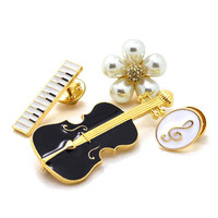 Luxury Simulated-pearl Flower Brooches For Women Black Violin White Piano Note Brooch Pins Gold Plated Fashion Jewelry 4 Pcs/set