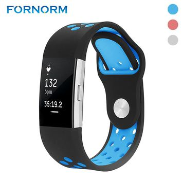 FORNORM Silicone 3 Colors Fashional Wrist Band Sweatproof Replacement Accessories For Fitbit Charge 2 Watch Wrist