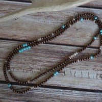 Wrapping Bracelet Stretchy Necklace with Turquoise
