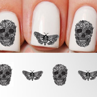 Nail Decals Skull and Moth. Unisex.