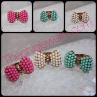 Beaded Bowtie Stretch Ring