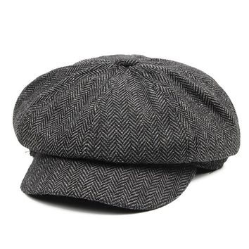 Vintage Style Men's Panel Tweed Newsboy Caps Formfitting Driving Hat Khaki Gray