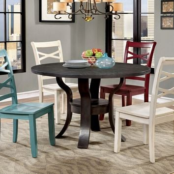 Furniture of america CM3518RT 5 pc gisela transitional style espresso finish wood round dining table set