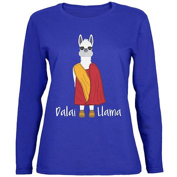 Funny Dalai Lama Llama Pun Womens Long Sleeve T Shirt