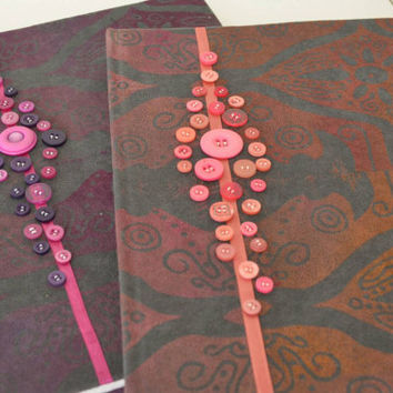 Handmade gift unique fabric printed Coral Pink Grey journal with ribbon and button detail present eid watercolour artist book poetry sketch