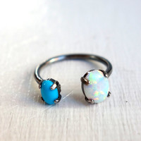 Dual Turquoise and Opal Open Ring - Handmade in Sterling Silver