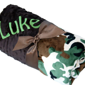 Green and Brown Camouflage Minky Baby Blanket with Brown Dot Minky Back Personalization Included over 35 fonts to choose fro