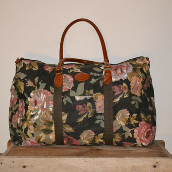 Vintage 80s Floral Print Overnight Bag Gitano Weekender Bag Carry On Bag Shoulder Bag Soft Luggage