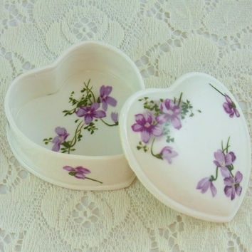 Vintage Bone China Trinket Box Heart Shaped With Violets