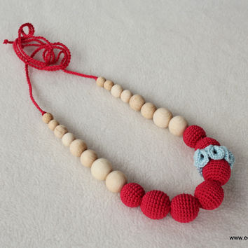 Red-baby blue carnation - breastfeeding necklace
