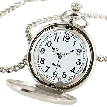 Luxury Vintage Silver Pocket Watch with Case