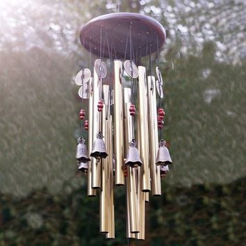 bestdedc Antique 4 Tubes Wood Chapel Church Bells Wind Chimes Yard Decor Topsea (Color: Gold)