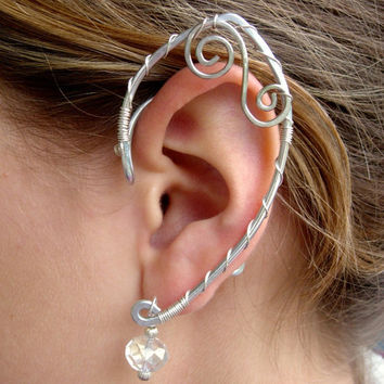 Simple and Elegant Pair of Elf Ear Cuffs, Faerie Ear Wraps, Silver, Fairy, Elven, Renaissance