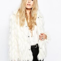 Story Of Lola | Story Of Lola Short Faux Fur Coat In Boho Natural Pattern at ASOS