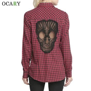 Skull Hollow Out Women Blouses Plaid Shirts Long Sleeve Blouse Spring Summer Blusas Mujer  Haut Ete Plus Size XL Chemise Red