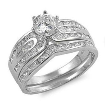 Sterling Silver Wedding Ring Set CZ Engagement 2 Ring and Wide Band size 5-10