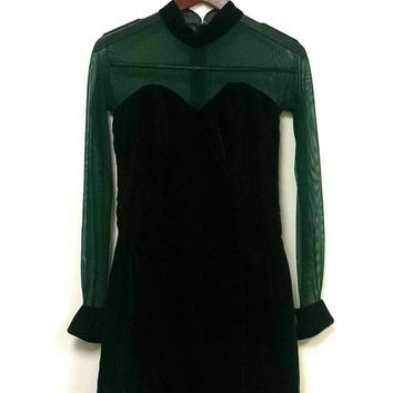 1990s velvet and mesh mini dress// long sleeve hunter green mesh and velvet dress// grunge 1990s velvet dress// velvet mini dress 90s