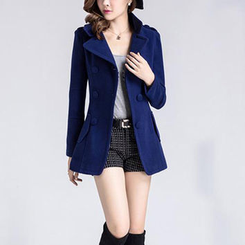 Long Sleeve Double-Button Notched Collar Mini Dress Wool Coat