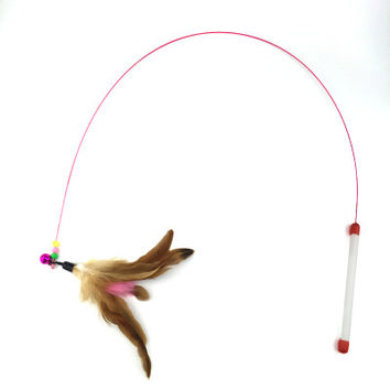 Cute Design Steel Wire Feather Teaser Wand Toy for Cats