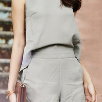 Gray Sleeveless Chiffon Romper