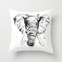 Elephant Throw Pillow by Luis Patino