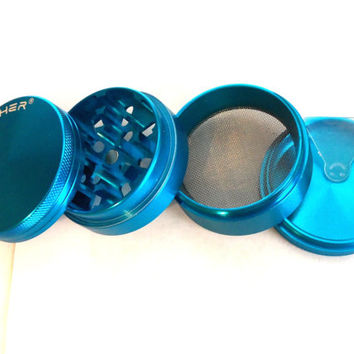 4 Part Blue Aluminum Pollen Tobacco Herb Grinder Smart Crusher