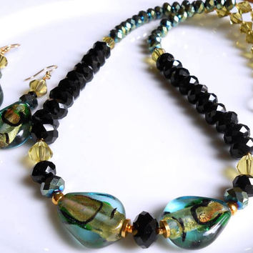 20% Off SALE WAS 32.00 NOW 25.60 Dichroic Glass, Glass Crystals, Necklace and Earrings Set, Gift for Her