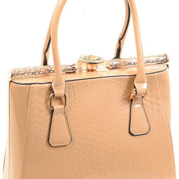 Womens Vegan Patent Leather Gold Rhinestone Beige Satchel Purse