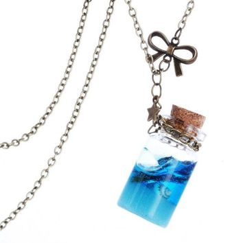 Ocean Drift Glass Bottle Pendant Mermaid Tears Shells Star Vial Necklace A