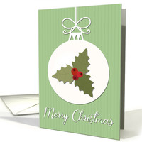Holly Leaves and Berries on Christmas Decoration card