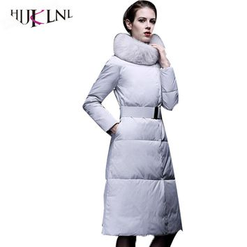 HIJKLNL 2017 New Women Long Down Coats High Fur Collar Winter Down Parkas Wadded Russian Down Jackets Slim Warm Snow Coats PL077