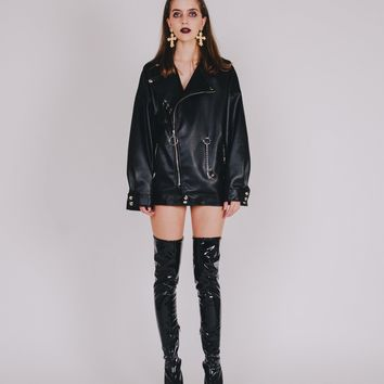 Black Panther Oversized Biker Jacket