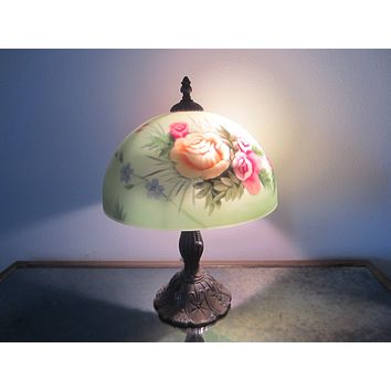 Reverse Glass Painted Shade Deco Style Brush Bronze Table Lamp