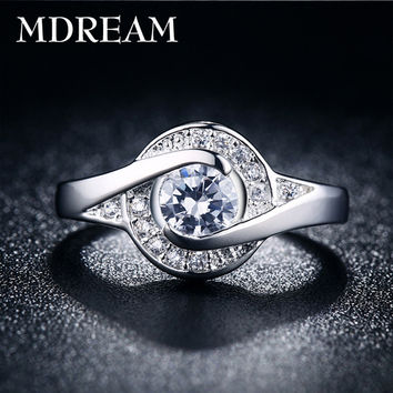 silver plated ring and 2 Carat CZ Diamond for women Engagement romantic rings jewelry birthday gift Size 6 7 8 9 10