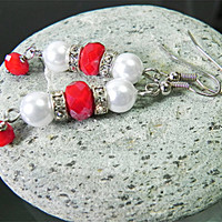 Red Earrings White Earrings Dangle Earrings - Cute Delicate Long Earrings for Women - Gift for Her Handmade Jewelry