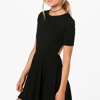 Petite Kiera Key Hole Cut Out Skater Dress | Boohoo