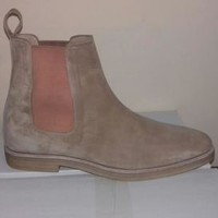 Handmade Mens Fashion Beige Color Suede Ankle Boots, Handcrafted Crepe Sole Boot