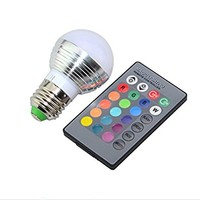 LED Light Bulb RGB E27 Standard Screw Base 16 Color Changing Dimmable 3W RGB LED Light Bulb for Home Decoration/Bar/Party/KTV