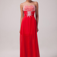 Red Shimmering Beads High-Low Strapless Chiffon    Evening Dress