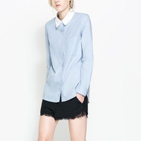 Light Blue Lapel Long Sleeve Pocket Blouse