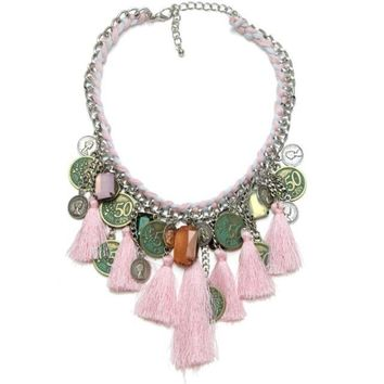 Women's Pink BOHO Large Tassel Necklace with Coin and Bead Charms