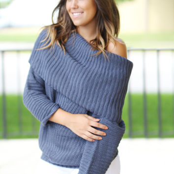 Midnight Navy Knit Oversized Sweater