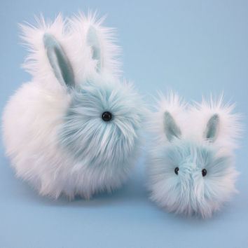 Snowflake Bunny Rabbit White and Ice Blue Fluffy Plush Stuffed Animal Holiday Toy - 4 x 5 Inches Small Size