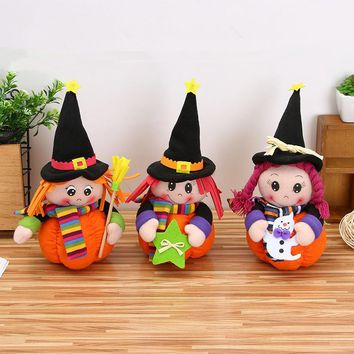 Halloween Decoration Cute Pumpkin Cap  doll Girl Witch  Creative Plush Toy Ornaments Halloween Decoration Children