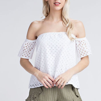 Eyelet Off the Shoulder Top - White
