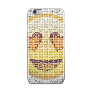 Heart Eyes Smiley Face Emoji Collage Teen Cute Girly Girls White & Yellow iPhone 4 4s 5 5s 5C 6 6s 6 Plus 6s Plus 7 & 7 Plus Case