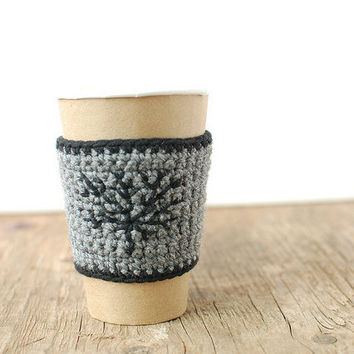 Gray coffee cup cozy Beer koozie with black tree by thecozyproject