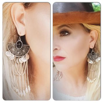 Bohemian gypsy chain earrings, wanderlust, True Rebel Clothing
