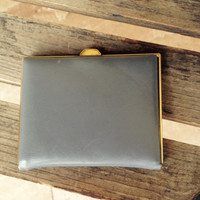 Neaman Marcus Gray Letter Wallet, Vintage Leather Wallet, West Germany Wallet